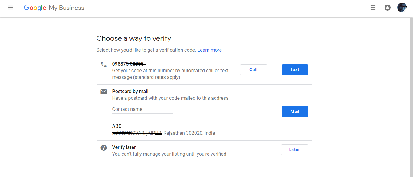 Google Add Business Location Verifying