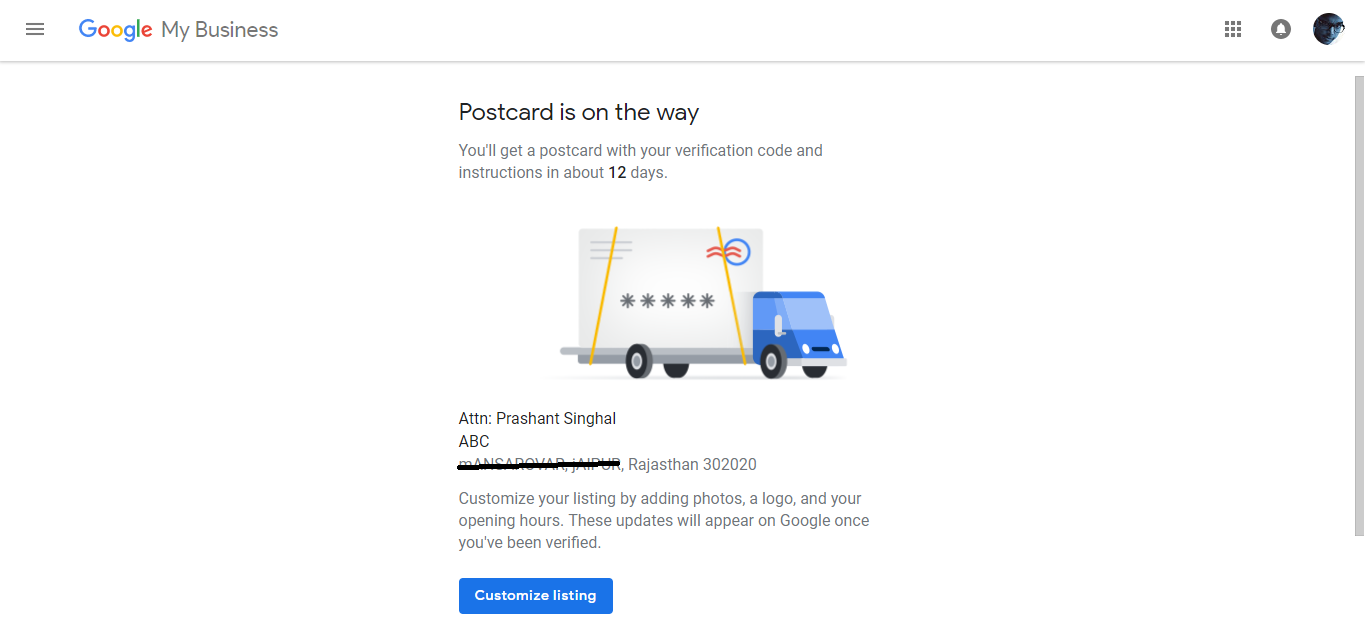 Google Add Business Location Verifying by Mail/Postcard