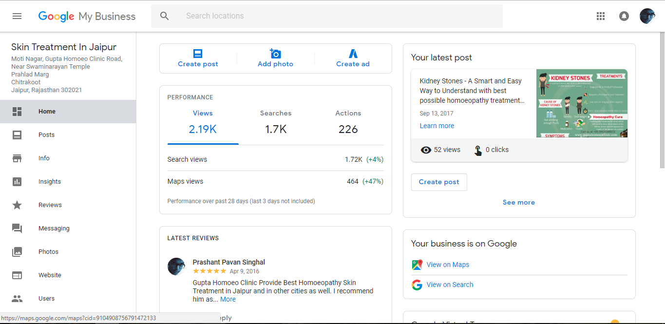 Google Business Dashboard Home