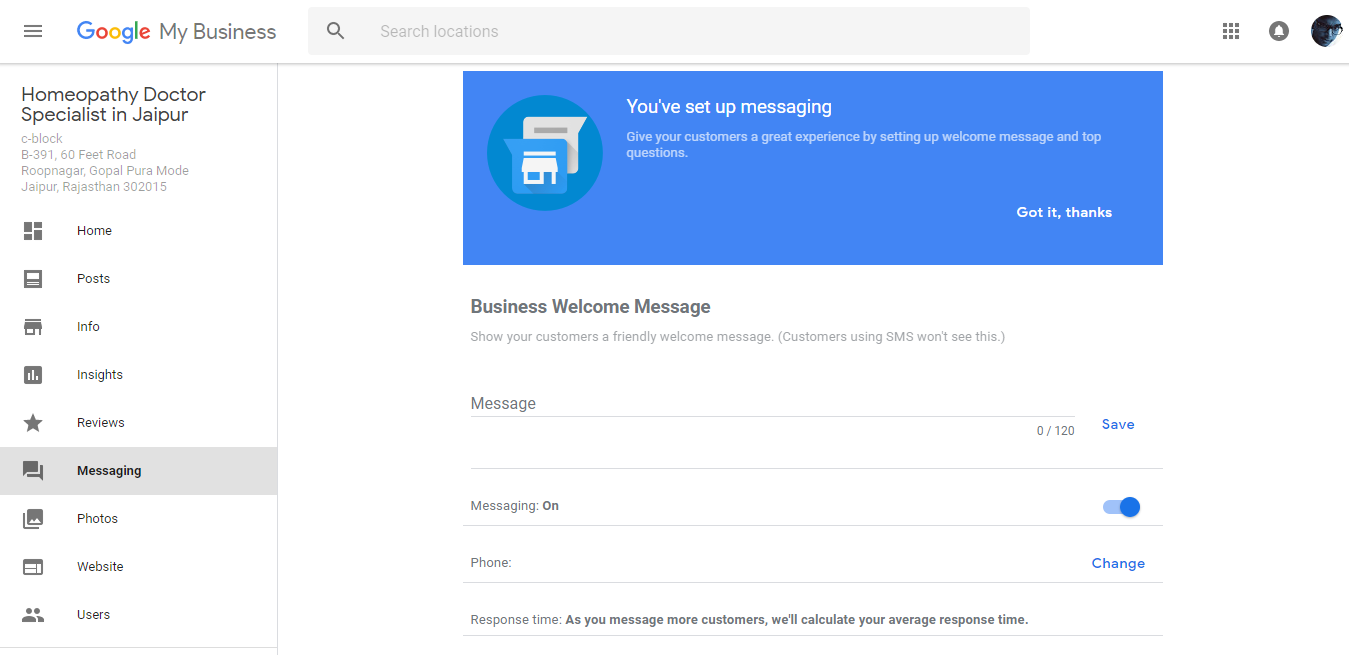 Google Map Business Information Messaging Feature
