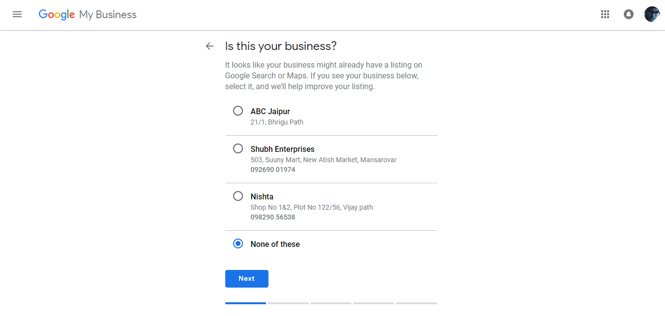 Google Add Business Location Cross Check and Confirm